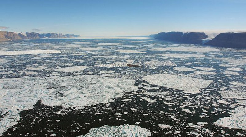 The 20 km-wide Petermann Fjord with the ice shelf in the far distance. CREDIT Martin Jakobsson
