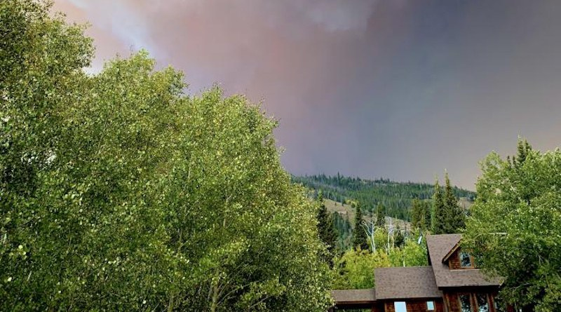 """The Mullen fire looms near a property in Centennial, Wyo., last fall. Bryan Shuman, a professor in UW's Department of Geology and Geophysics, was a main co-author of a paper, titled """"Rocky Mountain Subalpine Forests Now Burning More Than Any Time in Recent Millennia,"""" that was published in the Proceedings of the National Academy of Sciences today (June 14). The paper concluded that high-elevation forests in the Rocky Mountain region, an area of Colorado and southern Wyoming, are burning more than at any point in the past 2,000 years. CREDIT Jason Shogren"""