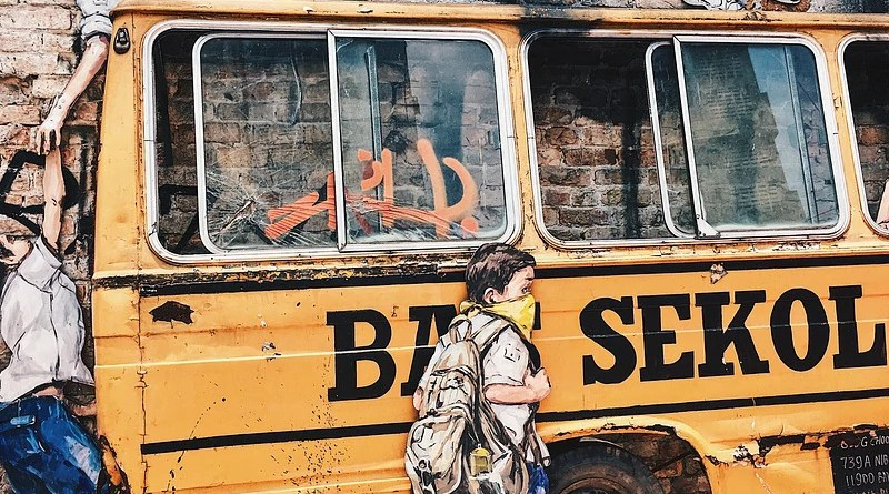 Bus School Kids Students Parking Class Malaysia