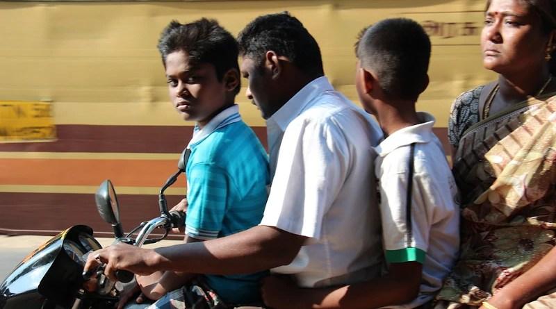 Motorcycle Drive Man Woman Family Children