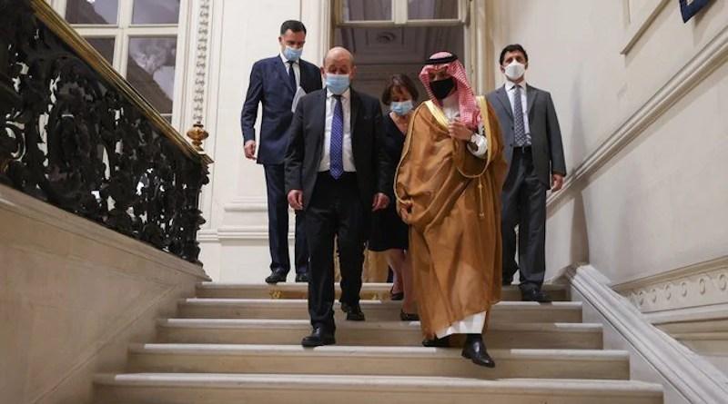Saudi Arabia's Foreign Minister Prince Faisal bin Farhan meets his French counterpart Jean-Yves Le Drian in Paris. (Twitter/@KSAMOFA