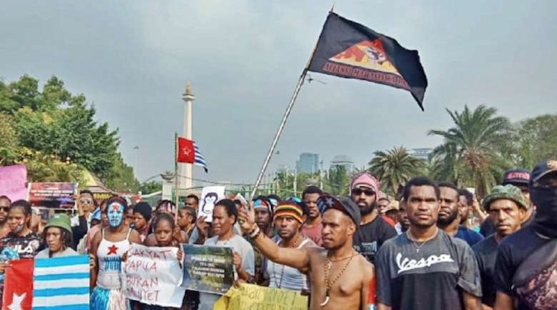 Papuan students rally in Jakarta in August 2019 to protest against the arrest of 40 students in Surabaya in East Java province several days earlier. (Photo supplied)