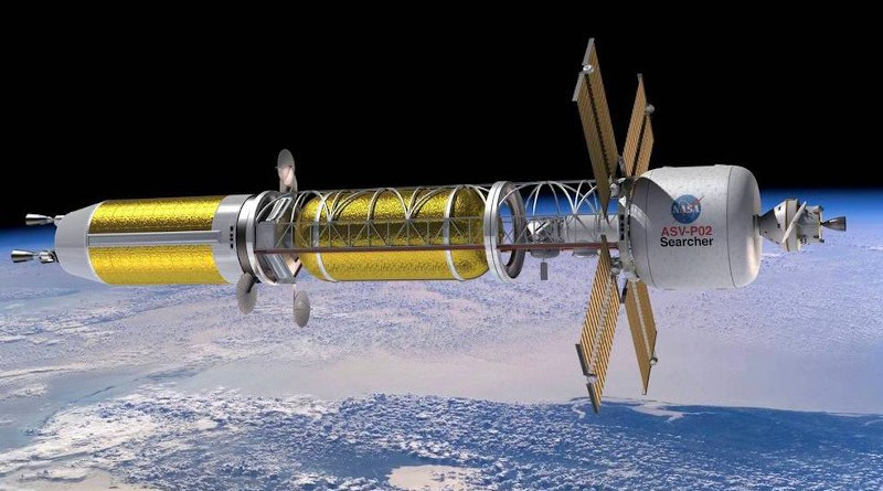 llustration of a conceptual spacecraft enabled by nuclear thermal propulsion. Credits: NASA