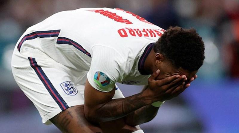 England's Marcus Rashford laments missing penalty kick in UEFA Euro 2020 final versus Italy. Photo Credit: Fars News Agency