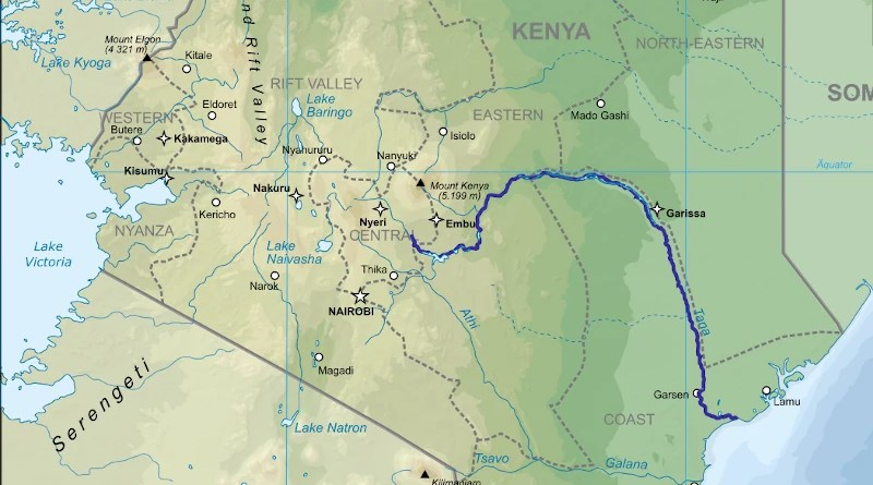 Location map of the River Tana in Kenya. Credit: Wikipedia Commons