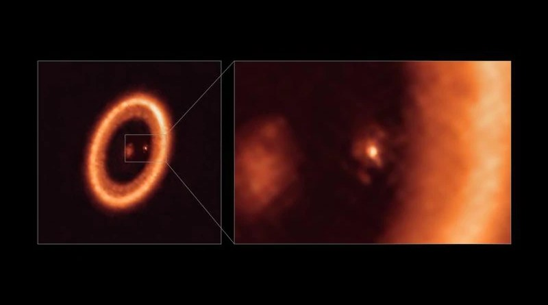 This image, taken with the Atacama Large Millimeter/submillimeter Array (ALMA), in which ESO is a partner, shows wide (left) and close-up (right) views of the moon-forming disc surrounding PDS 70c, a young Jupiter-like planet nearly 400 light-years away. The close-up view shows PDS 70c and its circumplanetary disc centre-front, with the larger circumstellar ring-like disc taking up most of the right-hand side of the image. The star PDS 70 is at the centre of the wide-view image on the left. Two planets have been found in the system, PDS 70c and PDS 70b, the latter not being visible in this image. They have carved a cavity in the circumstellar disc as they gobbled up material from the disc itself, growing in size. In this process, PDS 70c acquired its own circumplanetary disc, which contributes to the growth of the planet and where moons can form. This circumplanetary disc is as large as the Sun-Earth distance and has enough mass to form up to three satellites the size of the Moon. CREDIT: ALMA (ESO/NAOJ/NRAO)/Benisty et al.