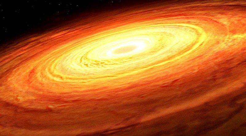An artist's impression of an accretion disk rotating around an unseen supermassive black hole. The accretion process produces random fluctuations in luminosity from the disk over time, a pattern found to be related to the mass of the black hole in a new study led by University of Illinois Urbana-Champaign researchers. CREDIT: Graphic courtesy Mark A. Garlick/Simons Foundation