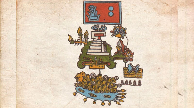 Pictogram representing an earthquake that took place on the year 2 Reeds or 1507. The gloss describes that the pictogram recounts the drowning of 1,800 warriors in an unidentified river, presumably in southern Mexico, the termination of the temple of the New Fire, where the ceremony of the new cycle of life was celebrated, and a solar eclipse as a circle with rays emanating from it in the upper right-hand side, below the date sign. CREDIT: Courtesy of Gerardo Suarez and Virginia Garcia-Acosta