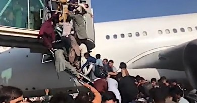 Scene at Kabul airport as civilians seek to board plane to evacuate Afghanistan. Photo Credit: Screenshot of Mehr News Agency video