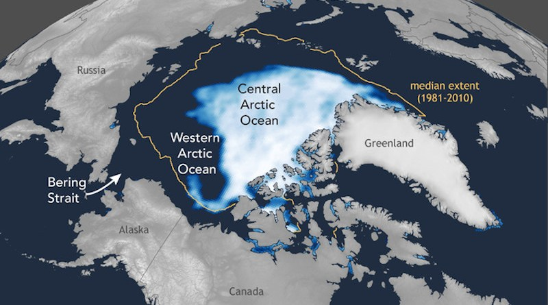 """Global climate change is warming the Arctic Ocean and shrinking sea ice. Here, the blue-white ice cap shows the coverage of sea ice at its smallest extent in summer 2020, and the yellow line shows the typical Arctic sea ice minimum extent between 1981 and 2010. Some have proposed that the newly exposed sea surface will lead to a plankton population boom and a burgeoning ecosystem in the open Arctic Ocean, but a team of Princeton and Max Planck Institute for Chemistry scientists say that's not likely. They have examined the history and supply rate of nitrogen, a key nutrient. Their recent work finds that stratification of the open Arctic waters, especially in the areas fed by the Pacific Ocean via the Bering Strait, will prevent surface plankton from receiving enough nitrogen to grow abundantly. CREDIT: Created by Jesse Farmer, Princeton University; modified from Rebecca Lindsey and Michon Scott, """"Climate change: Arctic sea ice,"""" NOAA Climate.gov"""