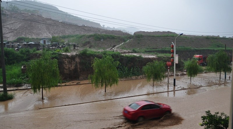 A historic rainstorm caused severe flooding on streets in Yulin, Shaanxi province on 25 July, 2013. CREDIT: Xuejiao Gao from Yulin Meteorological Bureau.