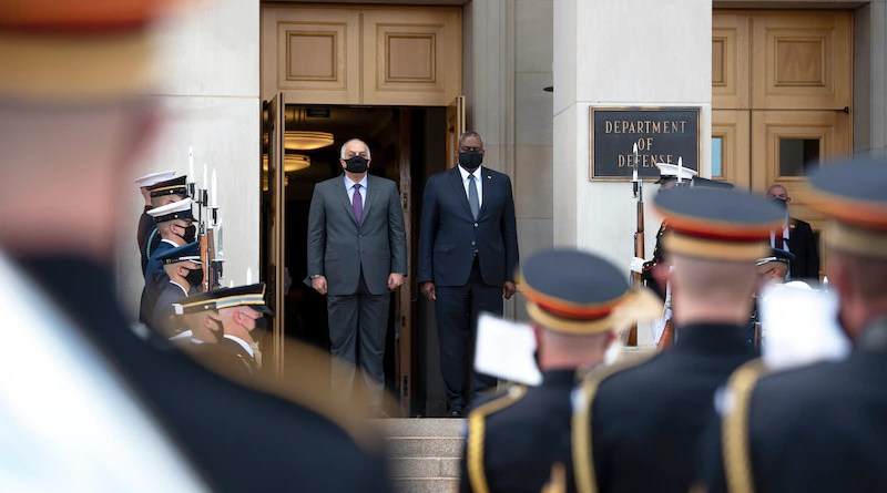 Secretary of Defense Lloyd J. Austin III hosts Qatari Defense Minister Khalid bin Mohamed Al Attiyah at the Pentagon, Aug. 19, 2021. Photo Credit: Lisa Ferdinando, DOD