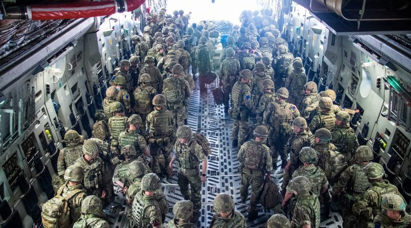 A handout picture provided by the British Ministry of Defence shows British Forces from 16 Air Assault Brigade on arrival in Kabul, Afghanistan, 15 August 2021.