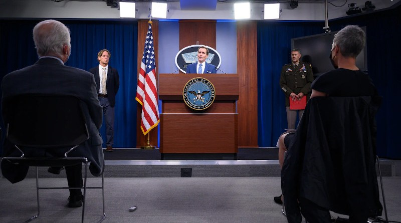 """Pentagon Press Secretary John F. Kirby holds a press briefing on Afghanistan with Army Maj. Gen. William D. """"Hank"""" Taylor and Garry Reed, director of DOD's Afghanistan crisis action group, at the Pentagon. Photo Credit: Lisa Ferdinando, DOD"""