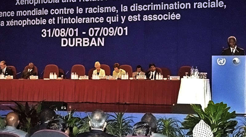 Secretary-General Kofi Annan speaking at the opening of the World Conference Against Racism, Racial Discrimination, Xenophobia and Related Intolerance in Durban. UN Photo/Evan Schneider