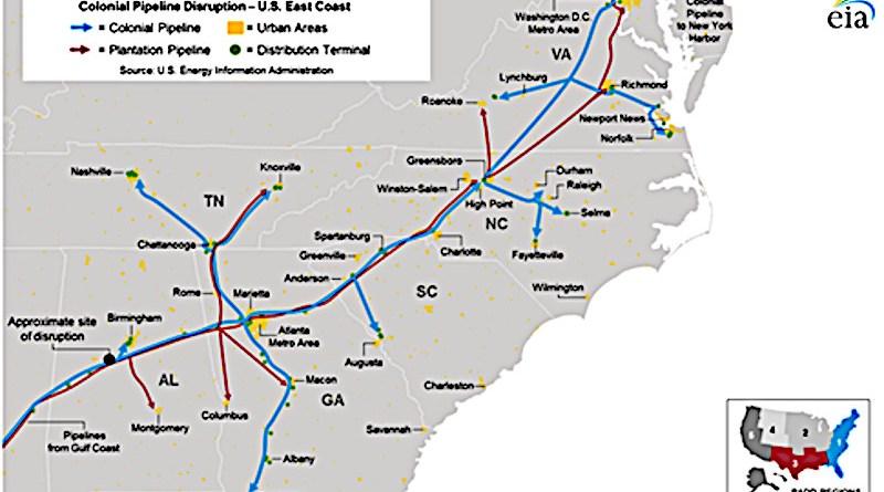 Colonial Pipeline, U.S. East Coast. Credit: EIA