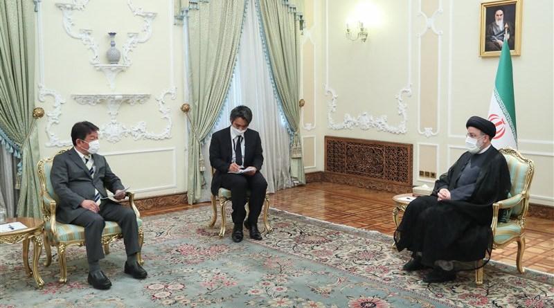 Iranian President Ebrahim Raisimt meet withJapanese Foreign Minister Motegi Toshimitsu in Tehran. Photo Credit: Tasnim News Agency