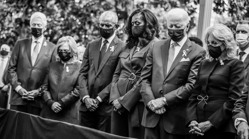 Former President Bill Clinton, former First Lady Hillary Clinton, former President Barack Obama, former First Lady Michelle Obama, President Joe Biden, First Lady Jill Biden attend the annual 9/11 Commemoration Ceremony at the National 9/11 Memorial and Museum on September 11, 2021 in New York. Photo Credit: The White House