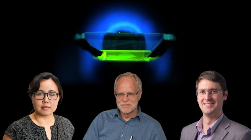 Co-doping diamond collaborators from left: Princeton Prof. Nathalie de Leon; David Graves, PPPL associate laboratory director for low temperature plasma surface interactions; Alastair Stacey of Australia's Royal Melbourne Institute of Technology, with ultraviolet image showing emission from diamond color centers behind them. CREDIT From left: Sameer Khan/Fotobuddy; Elle Starkman/Office of Communications; photo courtesy of Alastair Stacey. Ultraviolet image courtesy of Science magazine; collage by Kiran Sudarsanan for Office of Communications.