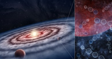 An artist's impression of the gas and dust in the protoplanetary disk surrounding the young star. The inset shows the molecular gas targeted by the MAPS observations, made up of a 'soup' of both simple and complex molecules in the vicinity of still-forming planets. CREDIT: M.Weiss/Center for Astrophysics/Harvard & Smithsonian