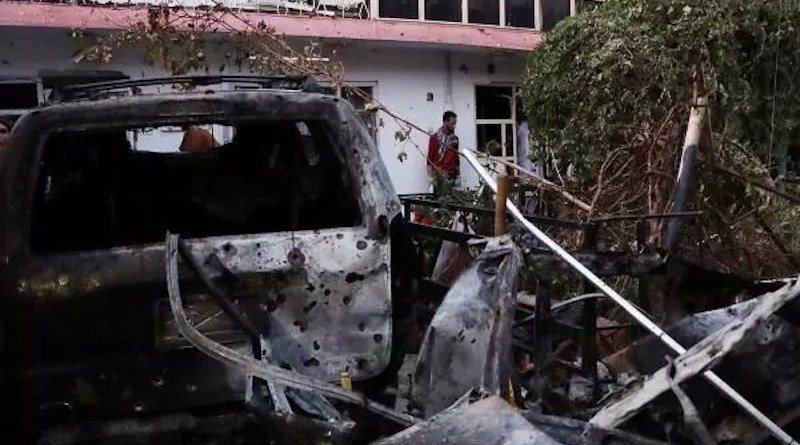 Aftermath of a US Hellfire missile in Kabul, August 29, which was launched in an effort to kill ISIS-K planners, but instead killed 10 civilians. Photo Credit: Mehr News Agency