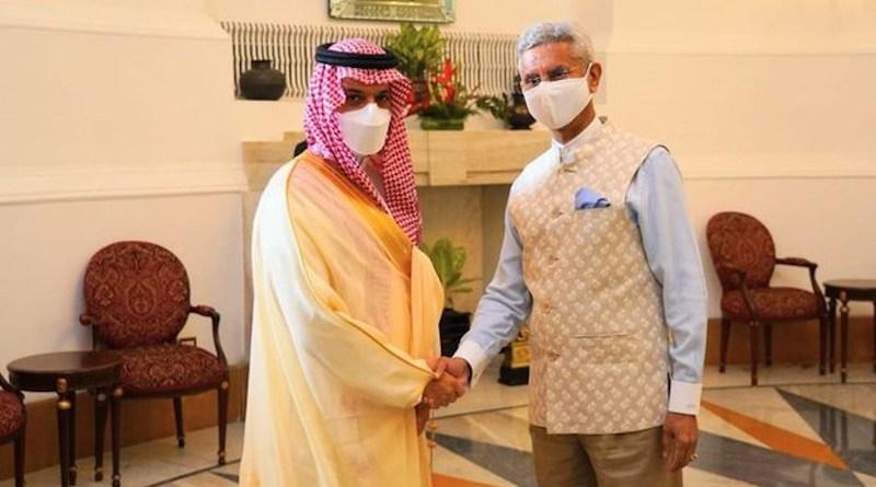 Saudi FM Prince Faisal bin Farhan and India's FM Subrahmanyam Jaishankar meet in New Delhi. (@DrSJaishankar)
