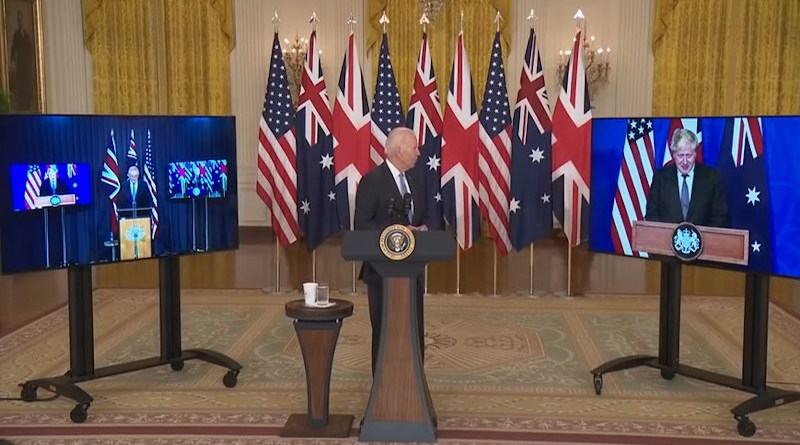 US President Joe Biden with Australia's Prime Minister Scott Morrison (left) and UK Prime Minister Boris Johnson. Photo Credit: White House video screenshot