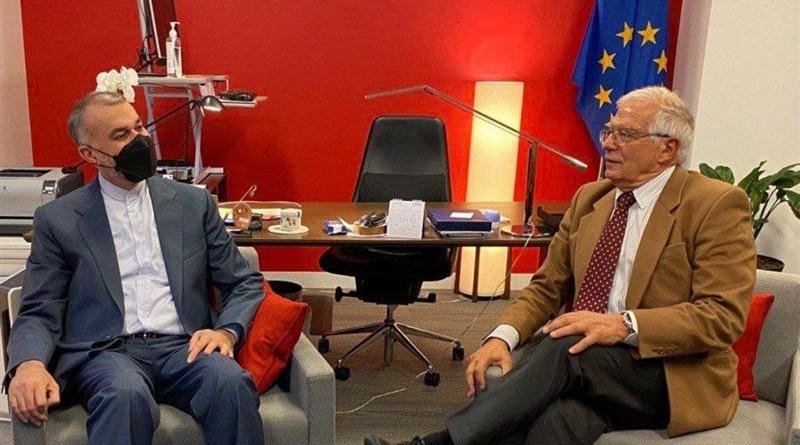 Iranian Foreign Minister Hossein Amirabdollahian with European Union foreign policy chief, Josep Borrell. Photo Credit: Tasnim News Agency