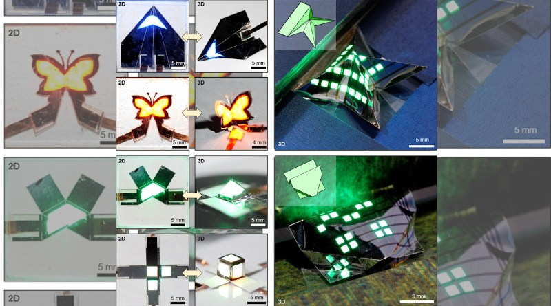 The ultra-thin QLED can be sharply folded along the laser-etched line, just like the origami paper artwork. A three-dimensional foldable QLED with various user-customized shapes such as airplanes, butterflies, and pyramids was fabricated. The 3D foldable QLED can freely transform between 2D and 3D structures, which allows for a dynamic display of visual information. CREDIT: Institute for Basic Science
