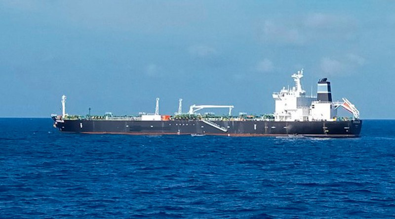 The MT Strovolos, a Bahamas-flagged tanker, is seen in the waters off the Riau Islands in Indonesia, in this undated photo released Aug. 25, 2021. (Handout Indonesian Navy)