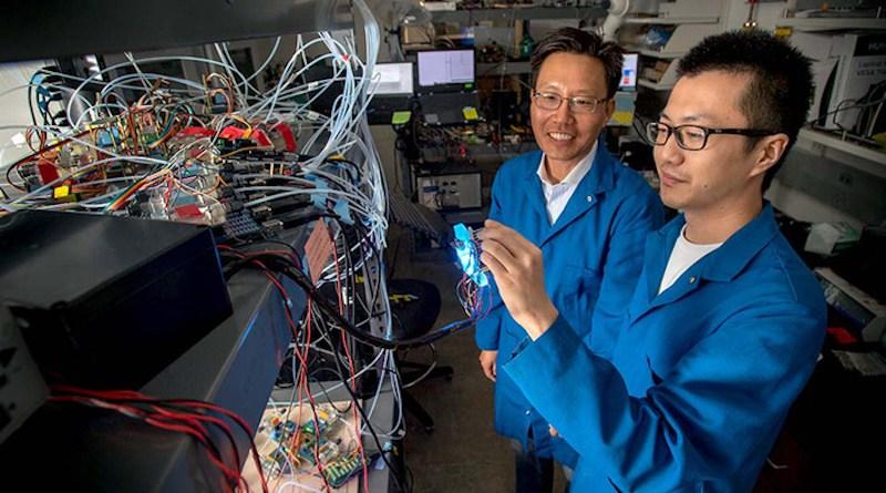Nosang Vincent Myung (left) with Ph.D. student Bingxin Yang CREDIT: University of Notre Dame