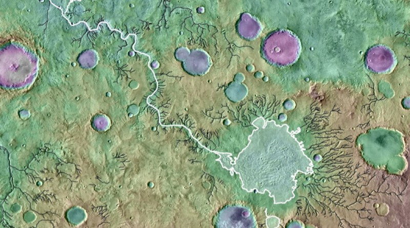 A colored topographical image showing river valleys on Mars. The outlet canyon Loire Vallis (white line) formed from the overflow of a lake in Parana Basin (outlined in white). Black lines indicate other river valleys formed by processes other than lake overflows. Background is colored Mars Orbiter Laser Altimeter-derived topography over a Thermal Emission Imaging System image mosaic. Image is approximately 650 kilometers across. CREDIT: NASA/GSFC/ JPL ASU