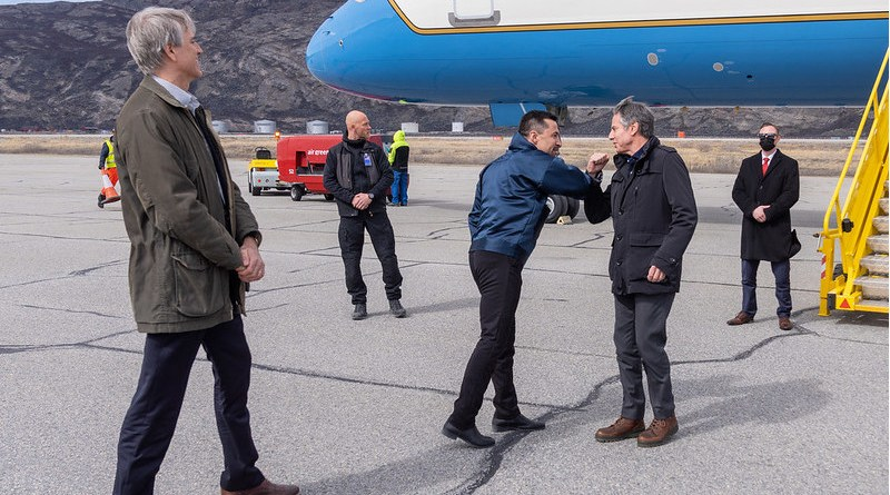 Secretary of State Antony J. Blinken arrives in Kangerlussuaq, Greenland on May 20, 2021. The Secretary was greeted upon arrival by Greenlandic Premier Mute Egede and Charge d'Affaires to U.S. Mission Demark Stuart A. Dwyer. [State Department photo by Ron Przysucha/ Public Domain]