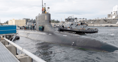 The Seawolf-class fast-attack submarine USS Connecticut (SSN 22) departs Naval Base Kistap-Bremerton for deployment, May 27, 2021. [Handout U.S. Navy]