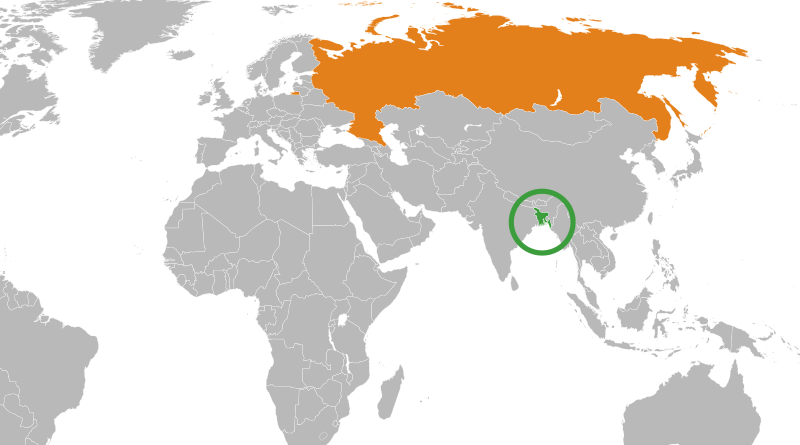 Locations of Bangladesh (green) and Russia. Photo Credit: Wikipedia Commons