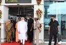 India's Prime Minister Narendra Modi arrives at Kushinagar International Airport, Uttar Pradesh on October 20, 2021. The Governor of Uttar Pradesh, Smt. Anandiben Patel is also seen. Photo Credit: PM India
