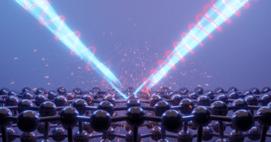 An artist's rendering of light bouncing off a surface of black phosphorus, which alters its polarization. CREDIT: Caltech