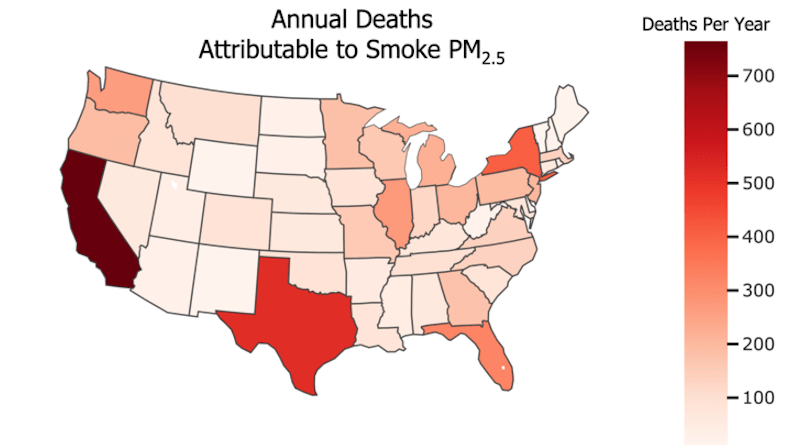 While states in the Western U.S. have higher concentrations of PM2.5 pollution from smoke, more people in the Eastern U.S. go to emergency rooms due to smoke-related illness, according to a new study in GeoHealth. CREDIT: O'Dell et al. (2021)/GeoHealth