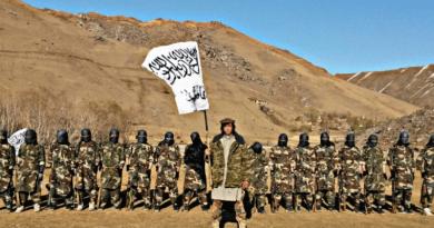 Tajikistan Taliban leader Muhammad Sharifov (aka Mahdi Arsalon, center). Photo Credit: Social Media