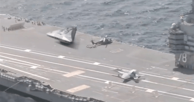Screenshot of unidentified plane onboard US carrier. Credit: Tasnim News Agency
