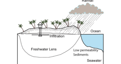 Schematic illustration of a freshwater lens on an island. CREDIT: Image from Wikimedia Commons.