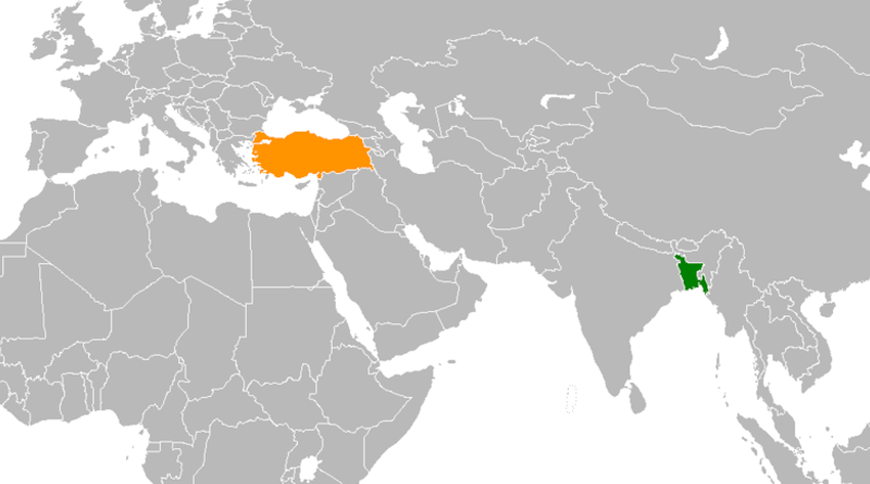 Locations of Bangladesh (green) and Turkey. Credit: Wikipedia Commons