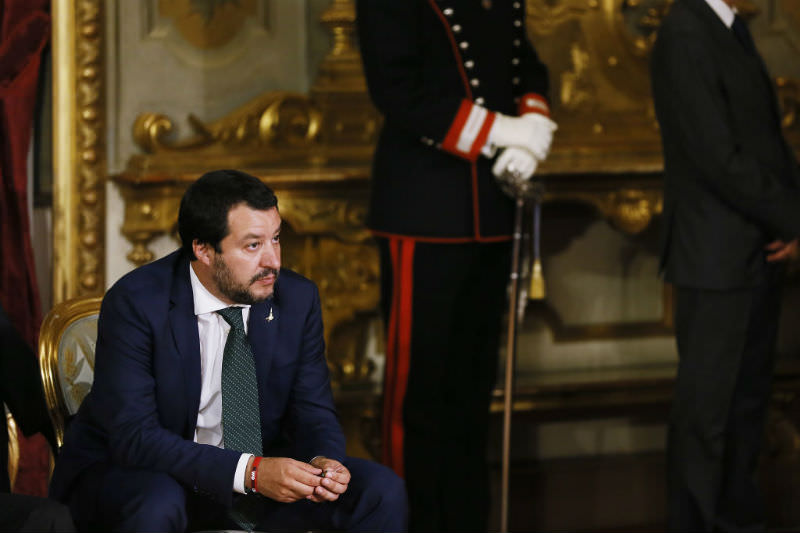 Italy's Deputy PM Matteo Salvini attends the swearing in ceremony of the new government led by Prime Minister Giuseppe Conte at Palazzo del Quirinale on 1 June 2018 in Rome. (Ernesto S. Ruscio/Getty Images)