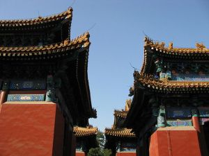 Photographie des toits du Temple de Confucius de Pékin