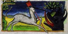 Licorne combattant un dragon, livre d'heures de Jean de Montauban