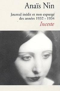 Couverture du Journal d'Anaïs Nin sous titré Inceste