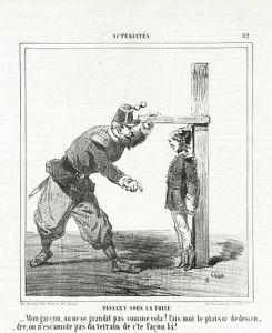 gravure représentant un soldat mesurant un autre sous une toise