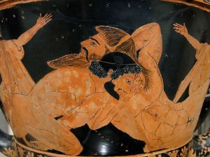 Combat d'Héraklès et Antée sur un vase grec, ocre sur fond noir