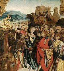Qui est le personnage assis sur une sorte de mécanisme d'horloge dans le tableau du «martyr de Can, Cantien et Cantienne» ?