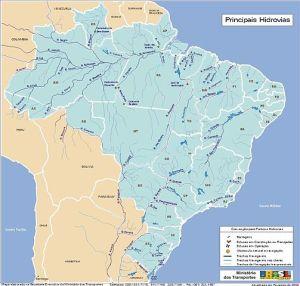 Domaine public carte des cours d'eau brésiliens